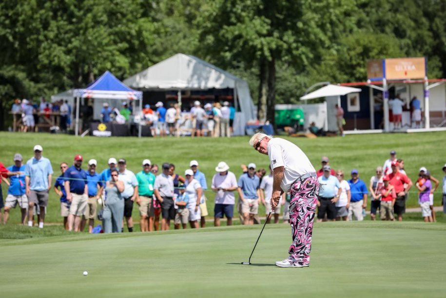 John Daly on the 9th green
